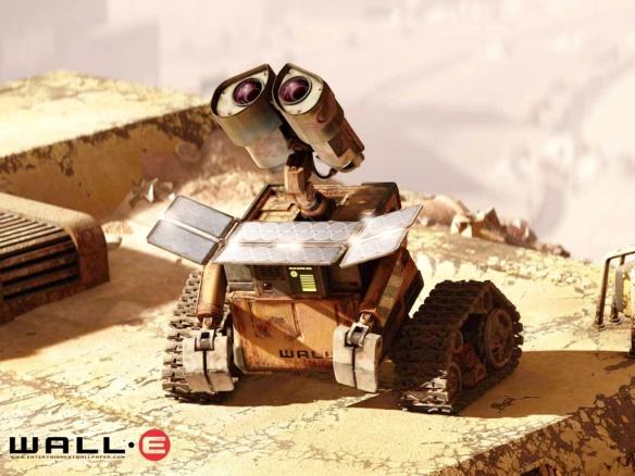 Wall-E faisant le plein d'énergie avant de commencer sa garde.